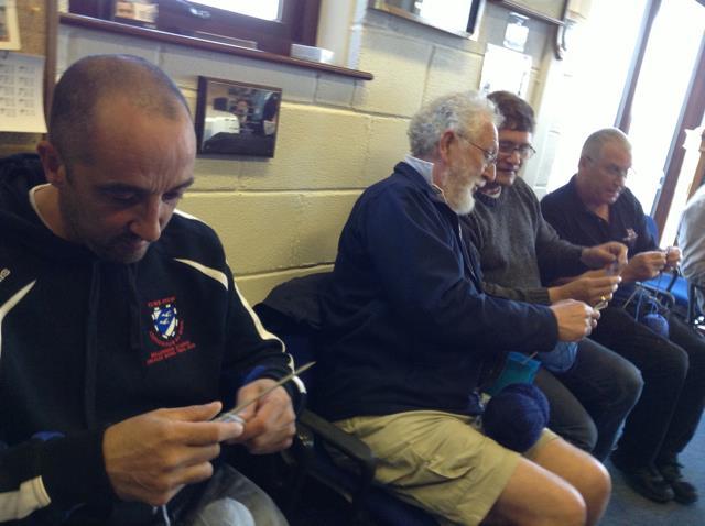 Goodwick lifeboat men knitting