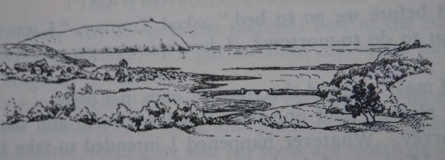Dinas Island, illustration by Phyllida Lumsden for The Island Farmers by R M Lockley