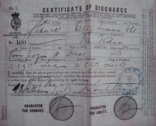 "Certificate of discharge from the Barque ""Glance' after a voyage to Montevideo"
