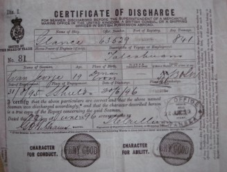 Certificate of discharge from the barque 'Glance' after a voyage to Talcahuano (Chile)