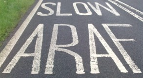 Bilingual road markings in Welsh and English