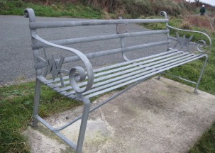 Bench by J E Thomas and Son, at the viewpoint going up the mountain behind Dinas