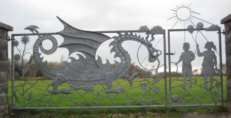 Gate by J E Thomas and Son, outside the children's playground.