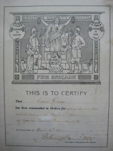 London County Council Fire Brigade Certificate 1904