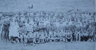 Shearing day company, Troedrhiwcymer near Llanddewibrefi, 1912