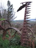 Abandoned farm machinery on the mountain above Dinas