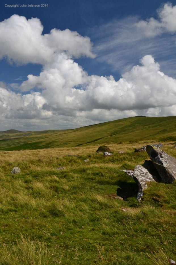 Blue sky….blue stone. Looking towards Cardigan across the hills