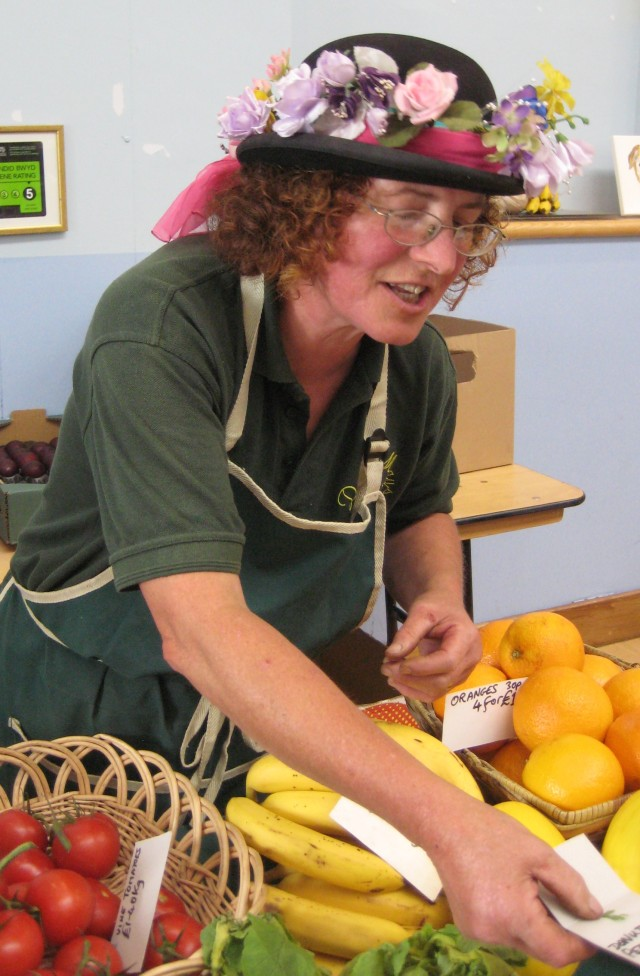 Just the hat for the fruit and vegetable stall