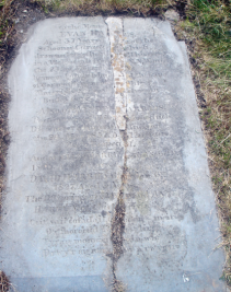 to the Memo_ _ EVAN HAR_ _ _ES. Aged 37 Years ¬_ _ _ _ er of the Schooner Caracta _ _ _ which drowned together w _ _ _ all his crew in a Violent gale fro _ _ _ _ N.N.W. on the 23d of Novemb_ _ _ _ 52 between Lundy Island _ _ _ the Cape of Cornwall, some of _ _ _ ship's Materials were wash_ _ _shore in Bude's bay __________________ Also of ALFRE_ _ARRIES. Post-master of Din_ _ _ross which Died after a lingerin_ _ llness on the 29. Novr 1857 A_ _d 31 Years Much Respect_d ____________________ And of ELIZA HARRIE_ died Septr 9. 1825 Aged 7 Years DAVID HARRIES die_ Jan 6th 1827 Aged 3 Years. The Offsprings of DAV_ D and ANNE. HARRIES of this _arish. Ceir sail cof a dail_ _ o d ir - meirw O'r moroedd fe _ _ _ esg_i_r Tyrau monwen_ _ _ yn wir Drwy'r eigion c_ _ _aw a rwygir J.J.