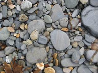 Small slates on the beach at Aberbach