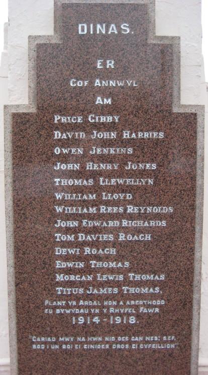 Dinas War MEMORIAL 1914-1918