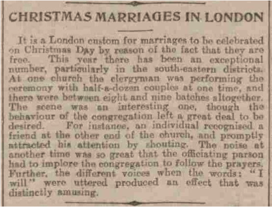 Christmas marriages in London