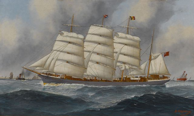 Aunt Emily John_Henry_Mohrmann_-_The_four-masted_barque_'Comlibank'_in_the_Channel_(1895)